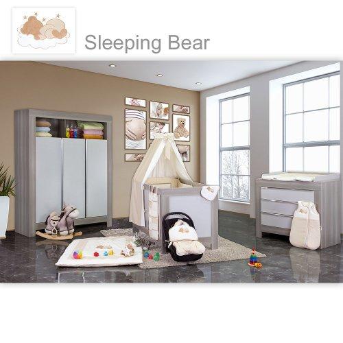 Babyzimmer Felix in akaziengrau 10 tlg. mit 3 türigem Kl. + Set Sleeping Bear beige