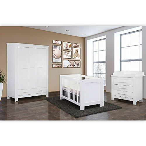 Babyzimmer / Kinderzimmer komplett Enni in Weiß, Komplettset mit grossem Kleiderschrank, Babybett mit Lattenrost, Wickelkommode mit Wickelaufsatz