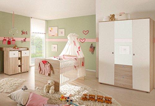 Babyzimmer Kinderzimmer komplett Set WIKI 5 in Eiche Sonoma / Weiß Komplettset mit grossem Kleiderschrank mit 3 Türen (davon 1 Spiegeltür), Babybett, Lattenrost und Wickelkommode mit Wickelaufsatz