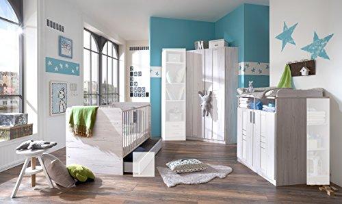 """Babyzimmer-Set """"BORNHOLM"""" 3tlg Bett Komplettset Wickelkommode Eckschrank Weißeiche-Nachbildung / Icy White"""