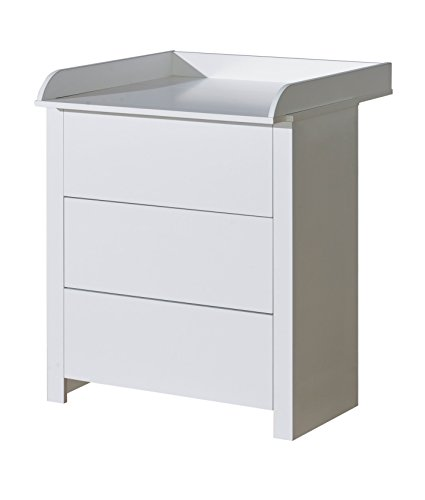 Belivin® 2in1 Wickelkommode Wickeltisch weiß | umbaubar zur normalen Kommode | große Schubladen mit push to open System | inkl. extra großer abnehmbarer Wickelauflage |