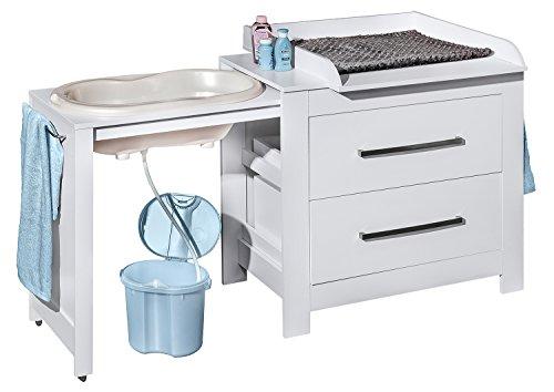 Belivin® 3in1 Wickelkommode weiß | Wickeltisch weiß | ausziehbare Badewanne | umbaubar zur normalen Kommode | große Schubladen | inkl. extra großen abnembaren Wickelaufsatz | besonders stabil