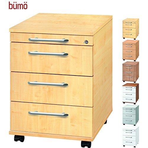 Bümö® Rollcontainer mit 3 Schüben & Schloss | Bürocontainer aus Holz | Tischcontainer mit Rollen | FSC zertifiziert | in 6 Dekoren
