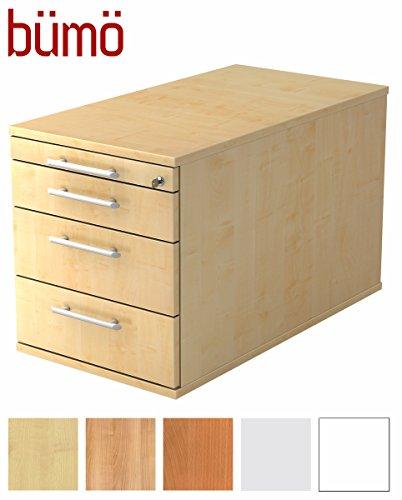 Bümö® Rollcontainer mit 4 Schüben & Schloss | Bürocontainer aus Holz abschließbar | Container für Büro | in 5 Dekoren