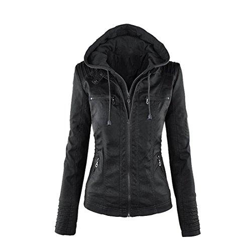 Bonboho Damen Herbst Winter Jacke mit Kapuzen Kunstleder Jacke Motorradjacke Ladies Oberbekleidung S M L XL 2XL 3XL 4XL 5XL