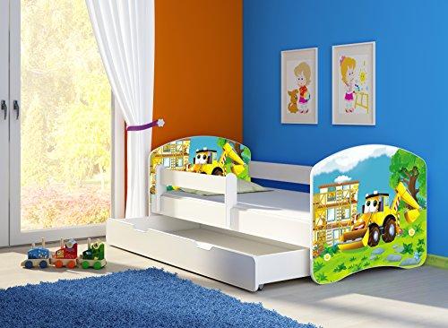 Clamaro 'Fantasia Weiß' Kinderbett mit Rausfallschutz (38 Motive + Wunschname) 70x140, 80x160 oder 80x180 inkl. Matratze, Lattenrost, Bettkasten (Unterbett Schublade auf Rollen), keine scharfen Kanten und Ecken durch umlaufende Kantenschutzleisten, Seitenteil verstellbar