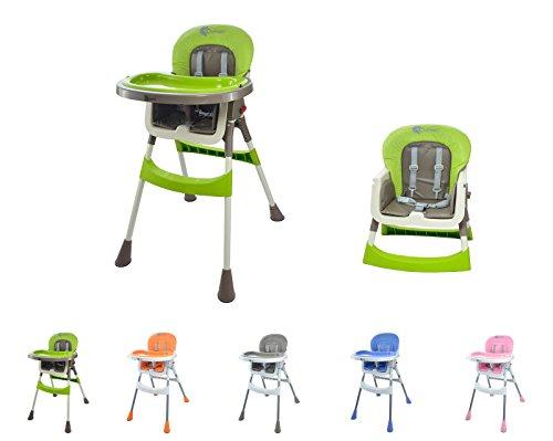 """Clamaro """"babyHIGH"""" Kinder Baby Hochstuhl (5 Farben wählbar) mit Sicherheitsgurt und 2in1 Tablett, Babyhochstuhl klappbar, gepolstert, mit abwischbaren Sitzpostern und mit rutschfesten Standfüßen"""