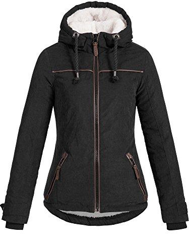 DESIRES Damen Basse warme Winterjacke Kapuze Kordeln Teddyfell gefüttert Übergangsjacke Regenjacke Winter Jacke