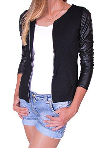 Damen Jacke mit Lederärmel Jacket Kap mit Reißverschluss S M L XL(176)