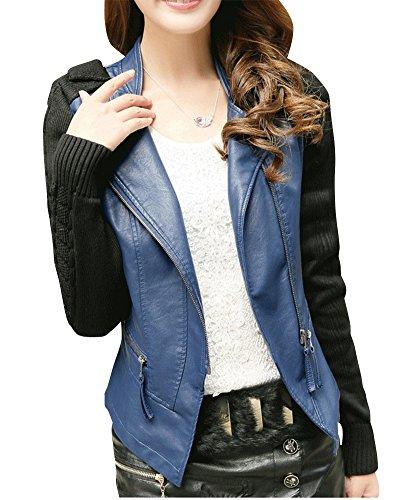 Damen PU Leder Kurz Jacke Mit Reißverschluss Slim Langarm Motorradjacke Outwear