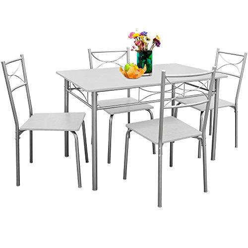 Deuba® Sitzgruppe 5 tlg. Weiß ✔für Esszimmer, Küche & Balkon ✔ 4 Stühle & 1 Tisch - Tischgruppe Essgruppe Esstischgruppe Balkonmöbel Sitzgruppe