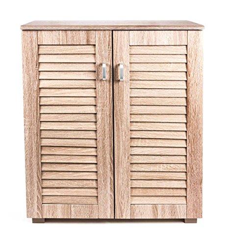 Dielenkommode, Schuhschrank, 5 Regale, 2 Türen, Lamellenfronten, modernes Design, Höhe ca. 84 cm