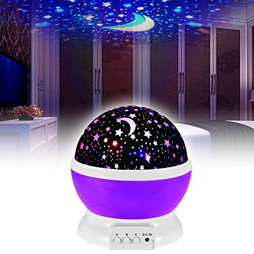 EMOTREE LED Sternenhimmel Nachtlicht Kinder Baby Geschenk Einschlafhilfe Projektor Nachtlampe Kinderzimmer Deko Lila