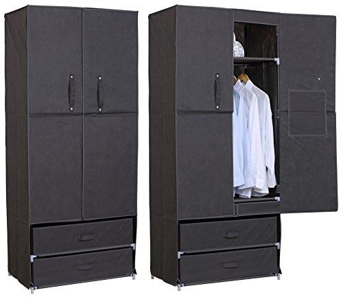 EUGAD #173 Kleiderschrank Garderobenschrank Stoffschrank , Campingschrank Wächeschrank Faltschrank Schubladenschrank Stoffbezug , XXL und Schmal , 7 Modelle 4 Farben