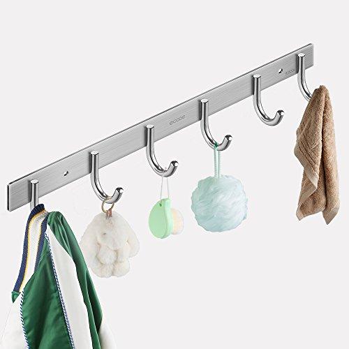 Ecooe 6 Haken Garderobenhaken Hakenleiste Kleiderhaken Handtuchhalter Wandhaken Mehrzweckhaken Edelstahl rostfrei