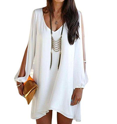 Elecenty Damen Solide Sommerkleid Partykleid Irregulär Knielang V-Ausschnitt Kleider Chiffon Frauen Mode Lose Kleid Minikleid Kleidung Asymmetrisch Abendkleider