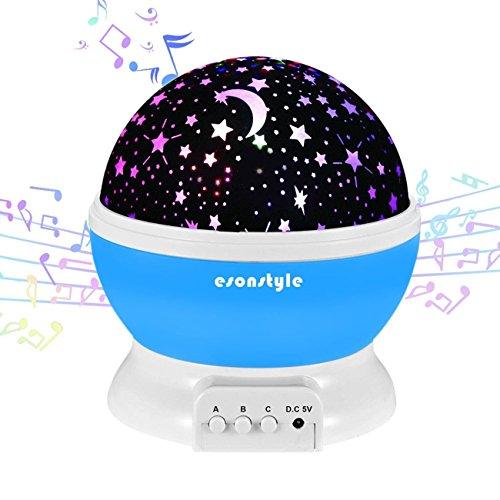 Esonstyle Wiederaufladbare 360 Grad drehende Nacht Licht Projektor Lampe Baby Musical Lampe Mond und Himmel Licht mit 12 Licht Musik für Baby Zimmer, Schlafzimmer, Spielzimmer, Kinderzimmer, Halloween