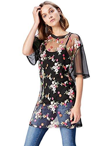 FIND Bluse Damen mit Durchsichtigem Mesh und Blumenmuster