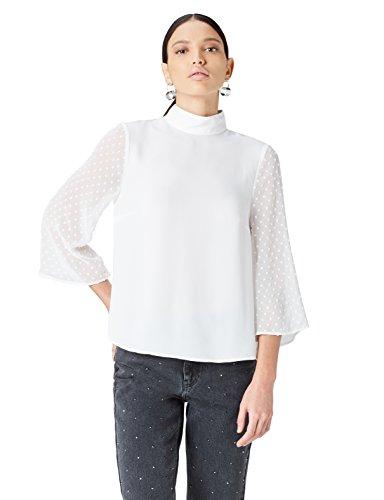 FIND Bluse Damen mit Plissee-Falten und Stehkragen
