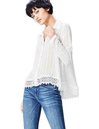 FIND Bluse Damen mit Spitzensaum und Streifenmuster