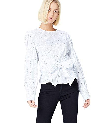 FIND Bluse Damen mit Wickeldesign und Ballonärmeln