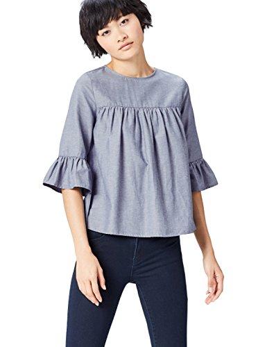 FIND Damen Bluse mit Rüschen aus Chambray