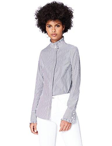 FIND Damen Gestreiftes Hemd mit Hohem Kragen