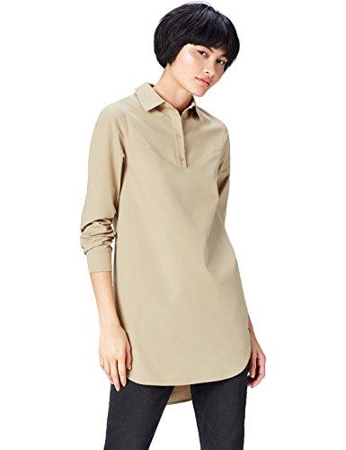 FIND Kleid Damen mit Kurzer Knopfleiste und Hemdkragen