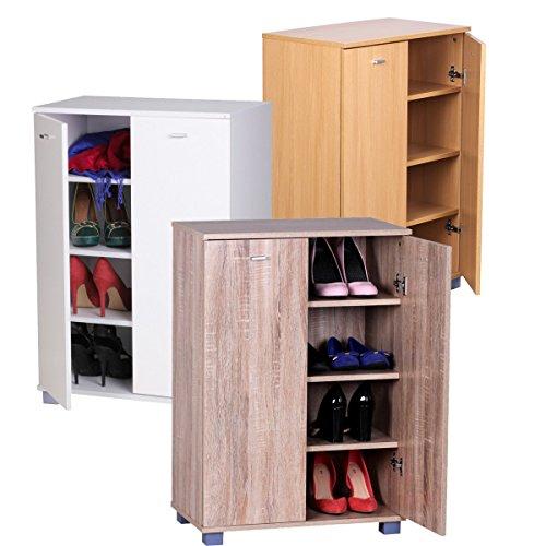 FineBuy Design Schuhschrank TANJA modern Holz 12 Paar Schuhe 4 Fächer 2 Türen | Schuhregal 80 x 118 x 25 cm platzsparend | Schuhkommode Flurschrank mit Ablage
