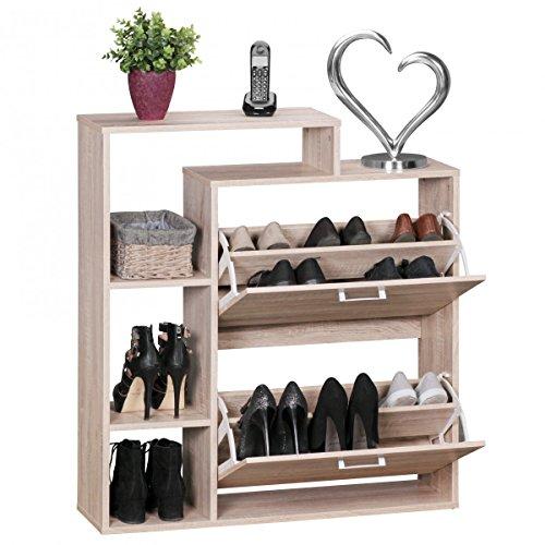 FineBuy Moderner Schuhkipper Holz 2 Fächer Sonoma Eiche 12 Paar Schuhe | Schuhschrank 85 x 24 x 93 cm | Schuhkommode Flur mit Ablage Regal
