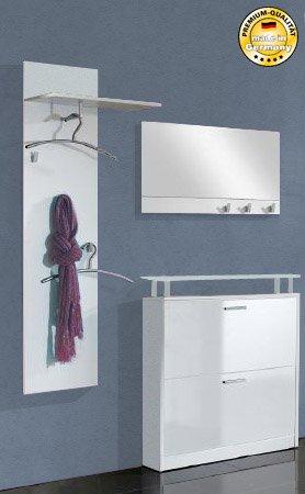 Garderobe Dielen Set weiß weiß hochglanz