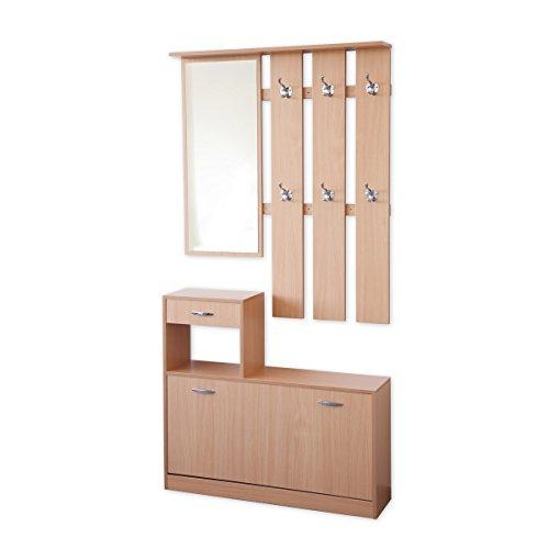 Garderoben-Set 3-teilig SIENA 100cm breit mit nässebeständigen und kratzfesten Melaminbeschichtung