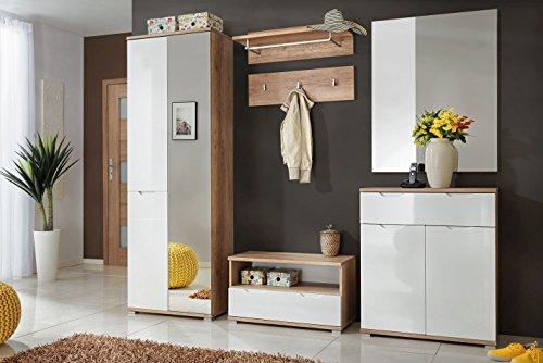 Garderoben Set Dablo 01, 6-teilig, Farbe: Eiche / Weiß Hochglanz - Abmessungen: 199 x 224 x 36 cm (H x B x T)