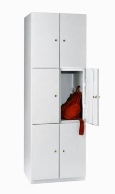 Garderobenschrank - 6 Fächer, 1800 x 600 x 500 mm - Türen lichtgrau - Garderobenschrank Kleiderspind Mehrzweckschrank Schließfach Schließfachschrank Spind Stahlschrank Umkleideschrank Unterkunftschrank Flügeltürschrank Kleiderschrank Raumsparschrank
