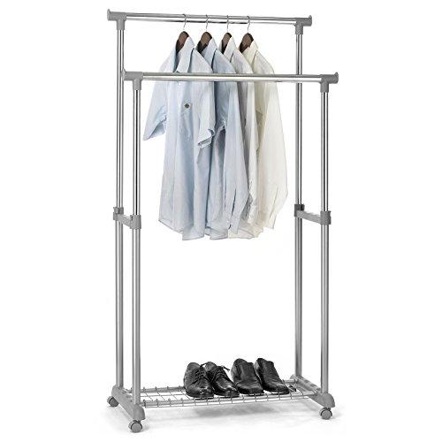Garderobenwagen GROSSO Kleiderständer Rollgarderobe Garderobenständer , mit Schuhablage, 2 Kleiderstangen, höhenverstellbar, Metallrohr verchromt