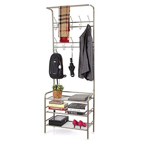 HOMFA Garderobenständer Kleiderständer kleiderstange 3 Ablagefächer Schuhablagen mit 18 Garderobenhaken,190cm