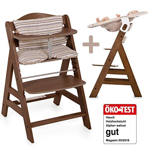 Hauck Alpha Newborn Set - Baby Holz Hochstuhl ab Geburt mit Liegefunktion / inkl. Aufsatz für Neugeborene und Gratis Hochstuhlauflage / mitwachsend, höhenverstellbar - Walnut Dunkelbraun