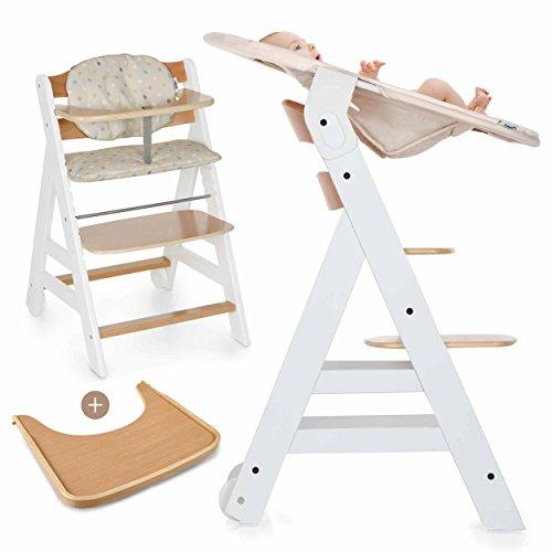 Hauck Beta Plus Newborn Set - Baby Holz Hochstuhl ab Geburt mit Liegefunktion / inkl. Aufsatz für Neugeborene, Sitzpolster, Tisch / mitwachsend, höhenverstellbar - Weiß Natur