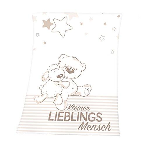 Herding Microfaserflausch Babydecke Kleiner Lieblingsmensch, 75x100 cm, beige