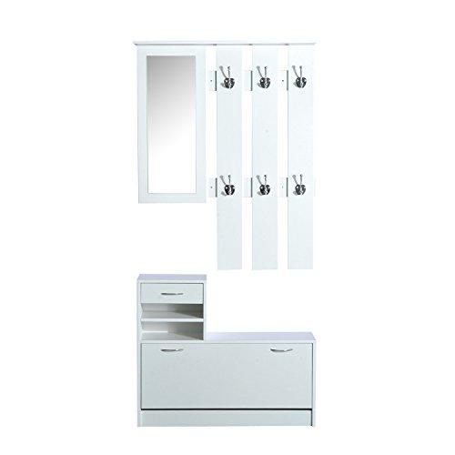 Homcom® 3 in 1 Garderoben Set Garderobenpaneel Schuhschrank mit Spiegel 2 tlg Weiß