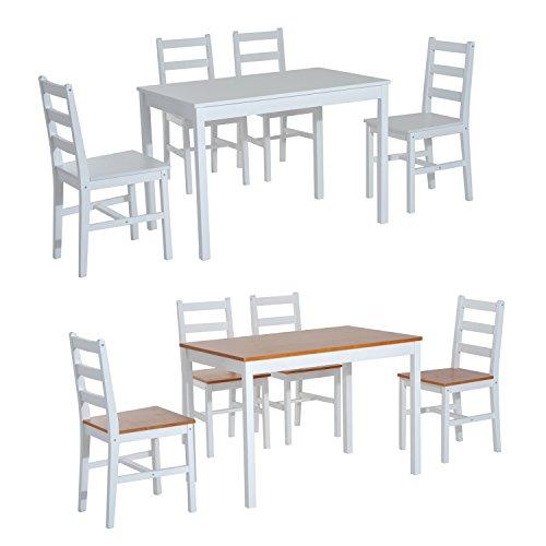 Homcom® Essgruppe Sitzgruppe 5-tlg. Esstisch Set Holztisch mit 4 Stühlen, Kiefer