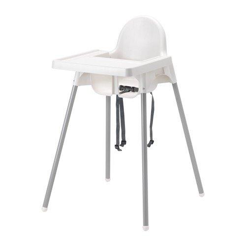 """IKEA Kinderhochstuhl """"ANTILOP"""" mobiler Babystuhl mit Sicherheitsgurt UND Tablett - weiss"""