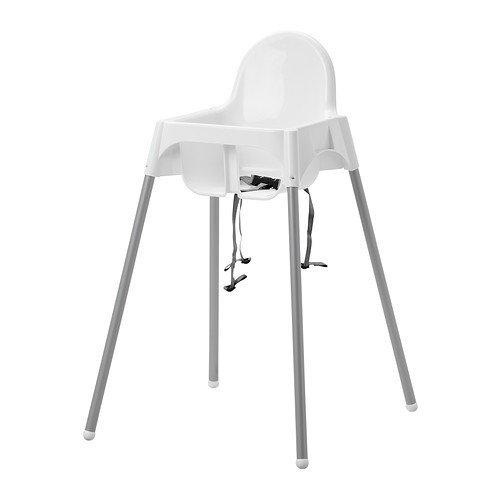 IKEA Kinderhochstuhl 'Antilop' Babystuhl in WEISS - mit Sicherheitsgurt - mobil dank abnehmbarer Beine