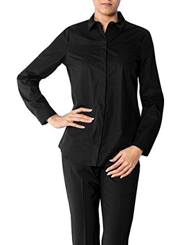 JOOP! Damen Bluse Baum Wolle Blusenshirt Unifarben, Größe: 36, Farbe: Schwarz