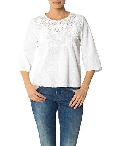 JOOP! Damen Bluse Baum Wolle Blusenshirt Unifarben, Größe: 42, Farbe: Weiß