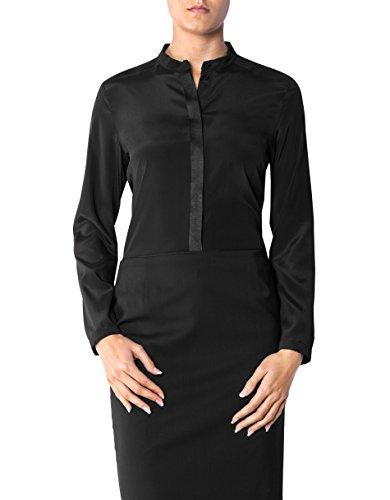 JOOP! Damen Bluse Mikrofaser Blusenshirt Unifarben, Größe: 36, Farbe: Schwarz