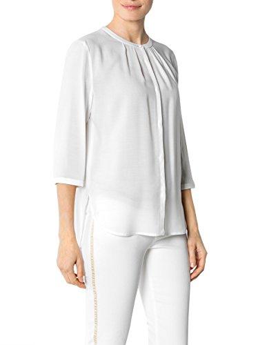 JOOP! Damen Bluse Modal Blusenshirt Unifarben, Größe: 36, Farbe: Weiß
