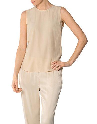 JOOP! Damen Bluse Seide Blusenshirt Unifarben, Größe: 40, Farbe: Beige