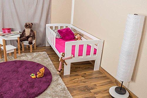 Kinderbett mit Absturzsicherung Kiefer Vollholz massiv weiß lackiert A17, inkl. Lattenrost - Abmessung 70 x 160 cm