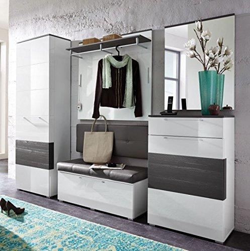 Kingston 1 Garderoben Set Komplettset Flur Komplettgarderobe Weiß/Grau